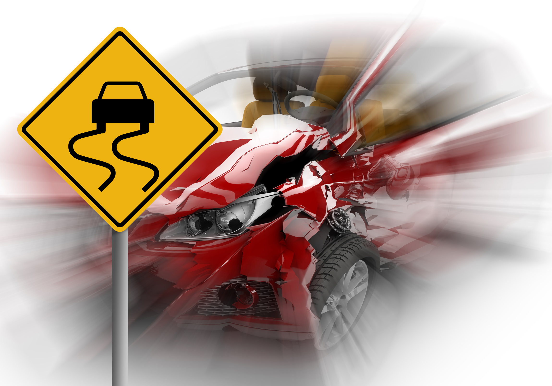 Zoom on a red car accident with danger yellow sign